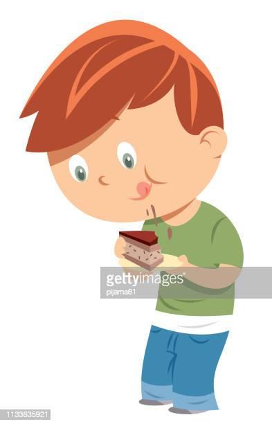 ilustraciones, imágenes clip art, dibujos animados e iconos de stock de torta de comida para niños - comer