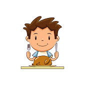 Child eating turkey meat