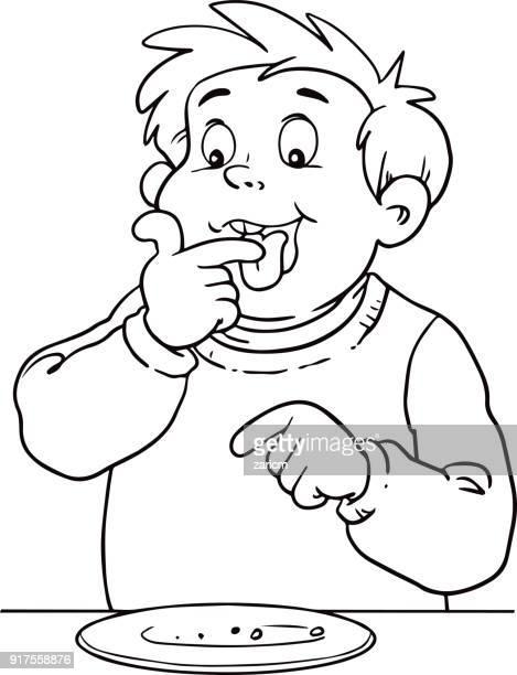 child eats a cake