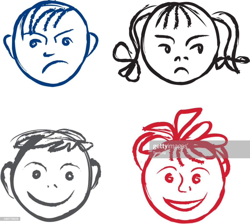 Child face set - happy and unhappy