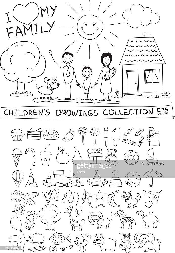 Child hand drawing illustration. Line graphic sketch vector doodles set