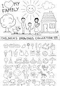 Child hand drawing illustration. Line graphic sketch vector doodles set