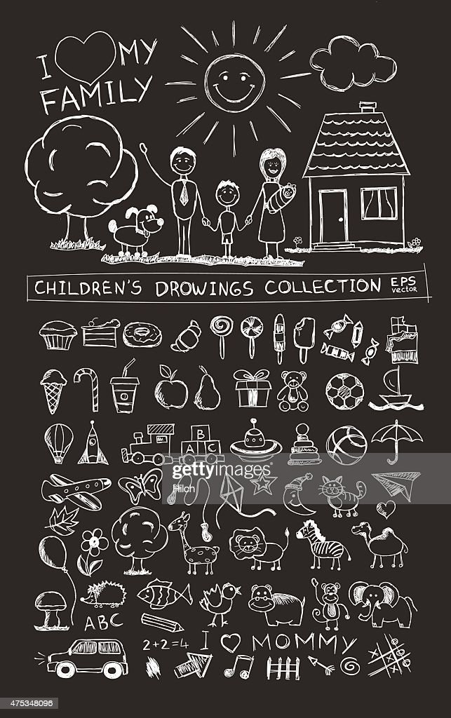 Child hand drawing illustration. School blackboard sketch image vector doodles