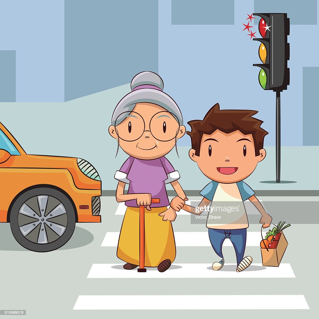 Child helping old woman cross the street