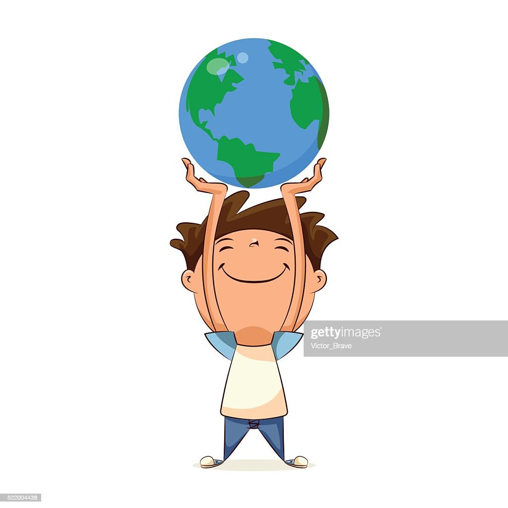 Child holding planet earth