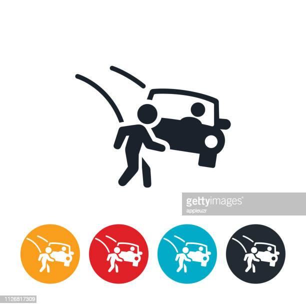 ilustraciones, imágenes clip art, dibujos animados e iconos de stock de niño en coche accidente icono - car crash