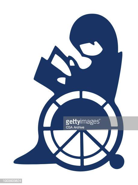 child in wheelchair reading - disability stock illustrations, clip art, cartoons, & icons
