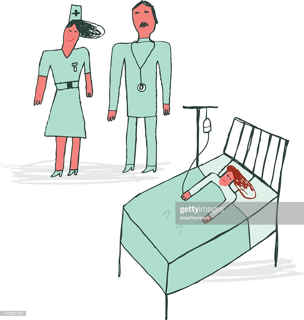 Child like drawing of doctor, nurse and patient in hospital