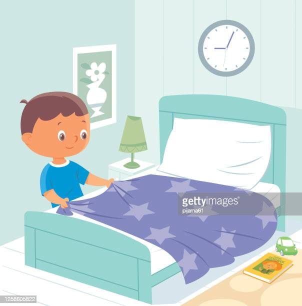 child making bed - tidy room stock illustrations