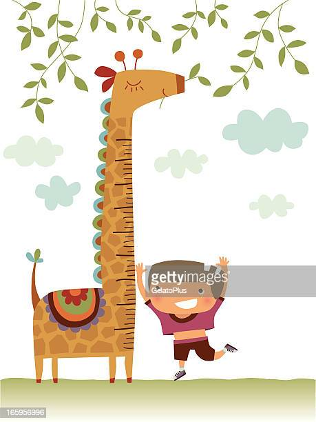 child measuring his growth against a giraffe - human body part stock illustrations, clip art, cartoons, & icons