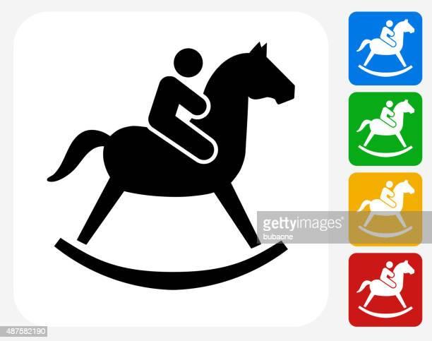 Criança em um cavalo de brinquedo ícone Flat Design gráfico