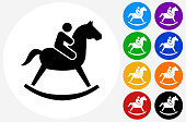 Child on  Toy Horse Icon on Flat Color Circle Buttons