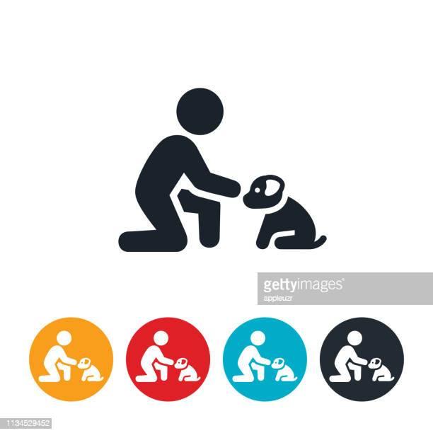 子供ふれあい子犬アイコン - 撫でる点のイラスト素材/クリップアート素材/マンガ素材/アイコン素材