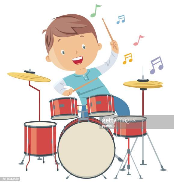 child playing drums - 8 9 years stock illustrations, clip art, cartoons, & icons