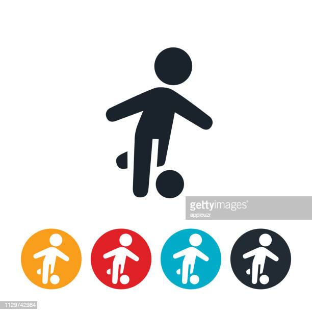 child playing soccer icon - kicking stock illustrations