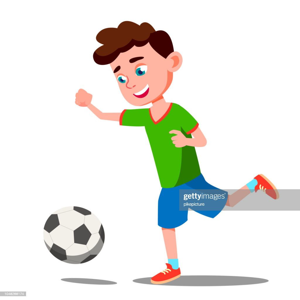 Child Playing Soccer On The Field Vector. Isolated Illustration