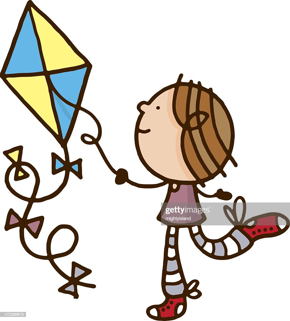 Child playing with a kite : stock illustration