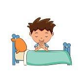 Child praying bed