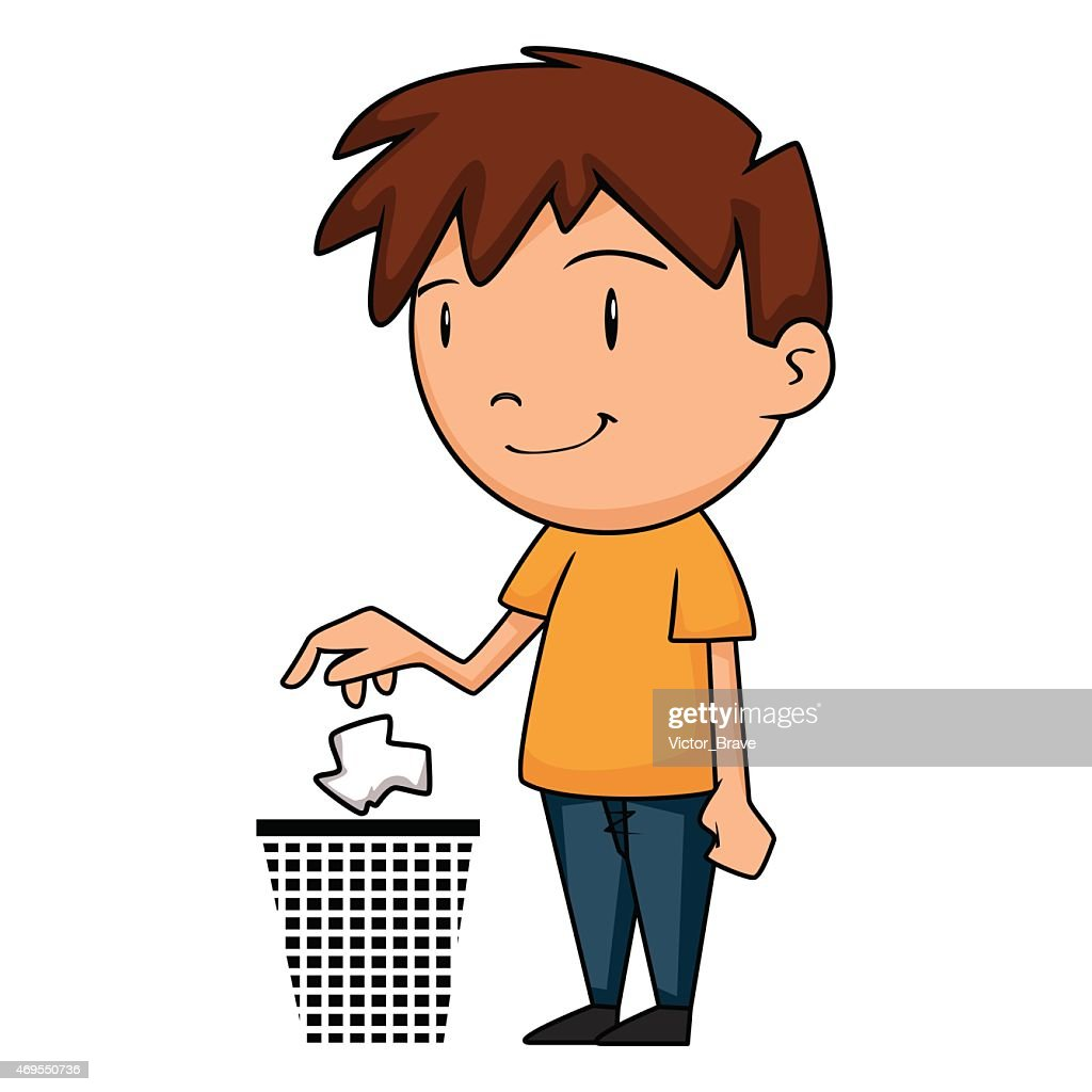 Child putting garbage in trash can