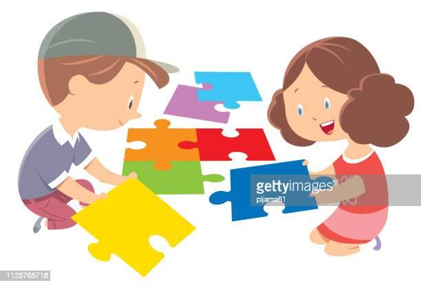 ilustrações de stock, clip art, desenhos animados e ícones de child puzzle - criança