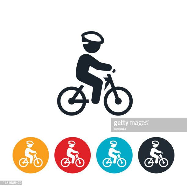 child riding bicycle icon - cycling stock illustrations