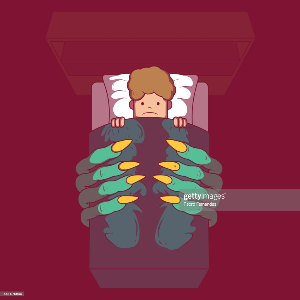 Child room with monster hands coming out under the bed vector illustration.