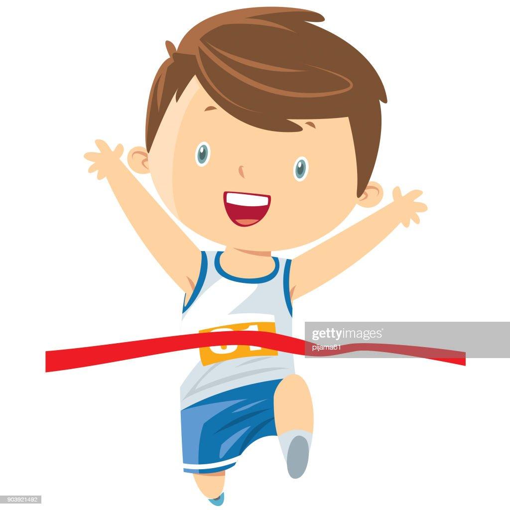Niño corriendo : Ilustración de stock