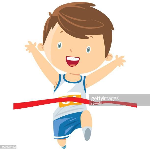 ilustraciones, imágenes clip art, dibujos animados e iconos de stock de niño corriendo - atleta atletismo