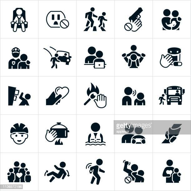 child safety icons - parent stock illustrations