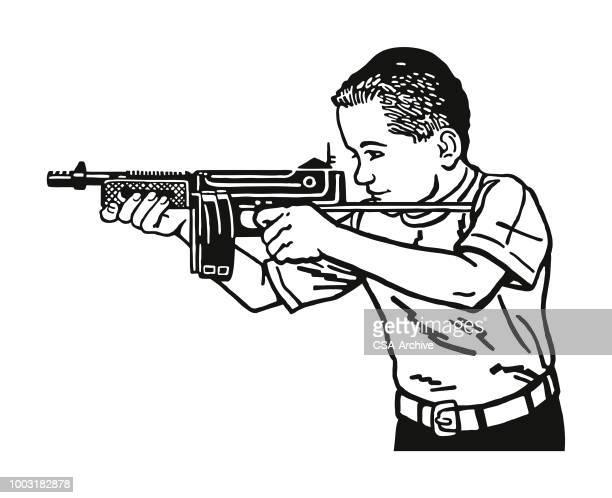 ilustraciones, imágenes clip art, dibujos animados e iconos de stock de niño disparando una pistola - maltrato infantil