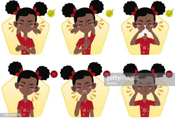 child showing how to sneeze and what not to do during covid-19 - asthmatic stock illustrations
