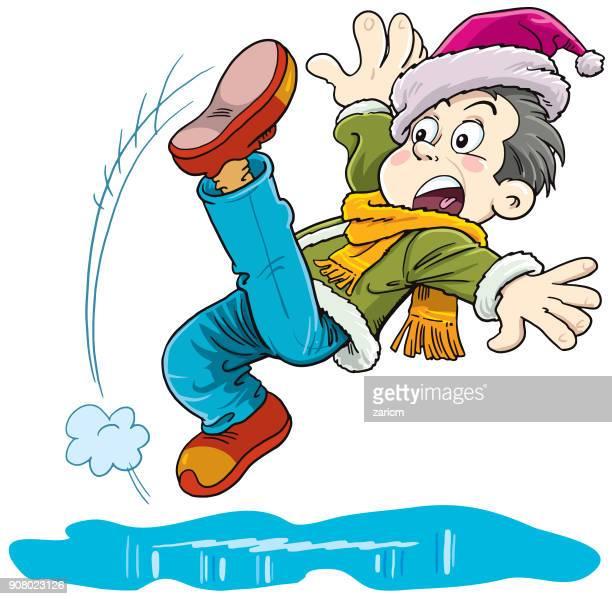 child slipping on wet floor - eastern europe stock illustrations, clip art, cartoons, & icons