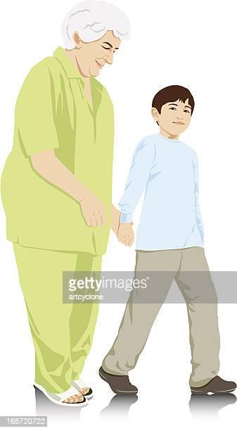Child Taking Care of Grandma