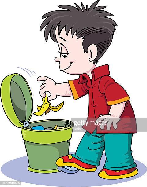 ilustraciones, imágenes clip art, dibujos animados e iconos de stock de niño tirando poner verde - tirar basura