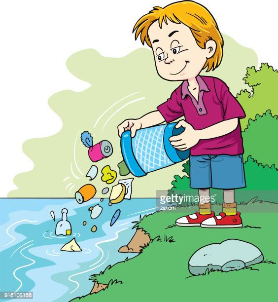 child throws a garbage in the river - water pollution stock illustrations