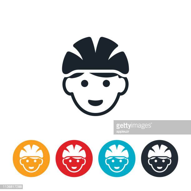 child wearing bicycle helmet icon - cycling helmet stock illustrations