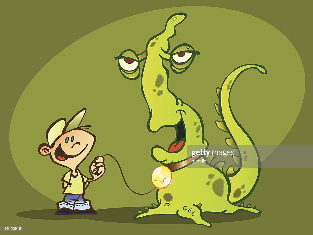 Child with a green monster as a pet : stock illustration