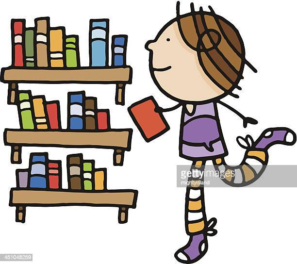 Child with books in a library