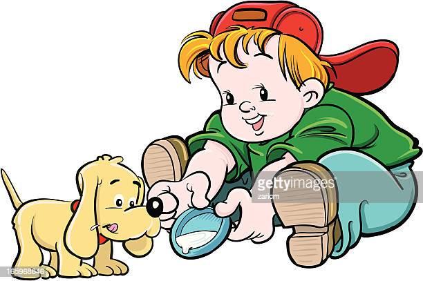 Niños con perro
