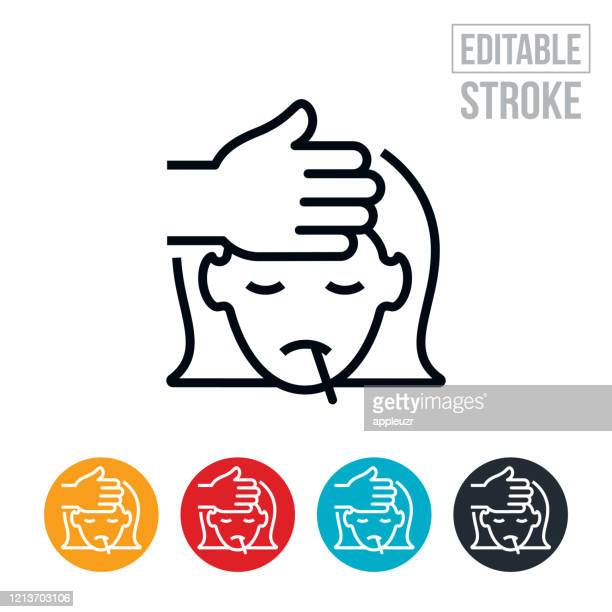 child with fever thin line icon - editable stroke - illness stock illustrations