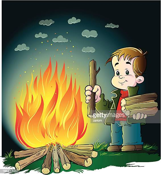 child with fire - stoking stock illustrations