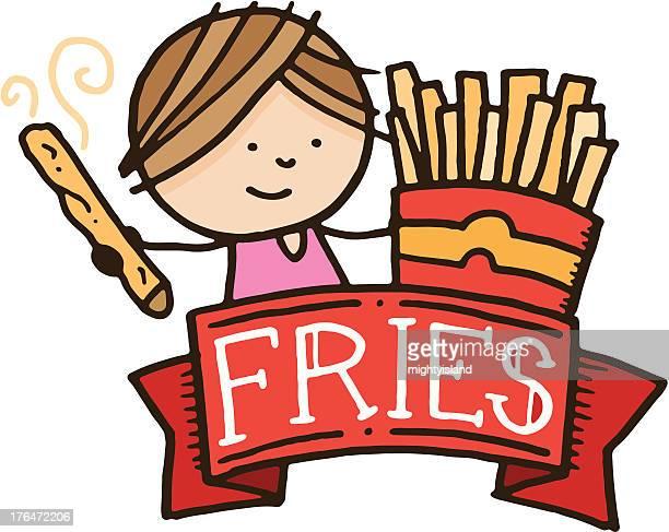 Child with fries menu design item