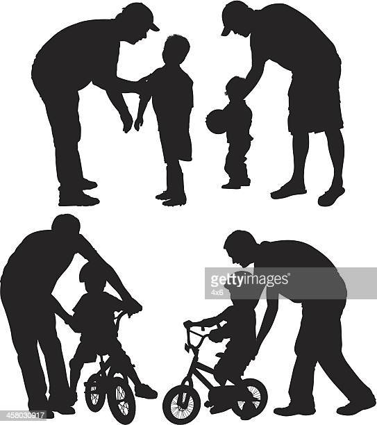 child with parent - family cycling stock illustrations, clip art, cartoons, & icons