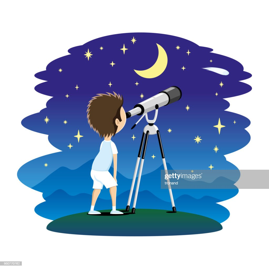 Child with telescope.