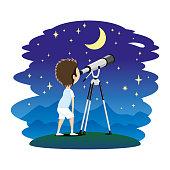 Child with telescope.