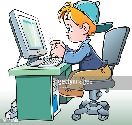 Child Working On Computer High Res Vector Graphic Getty