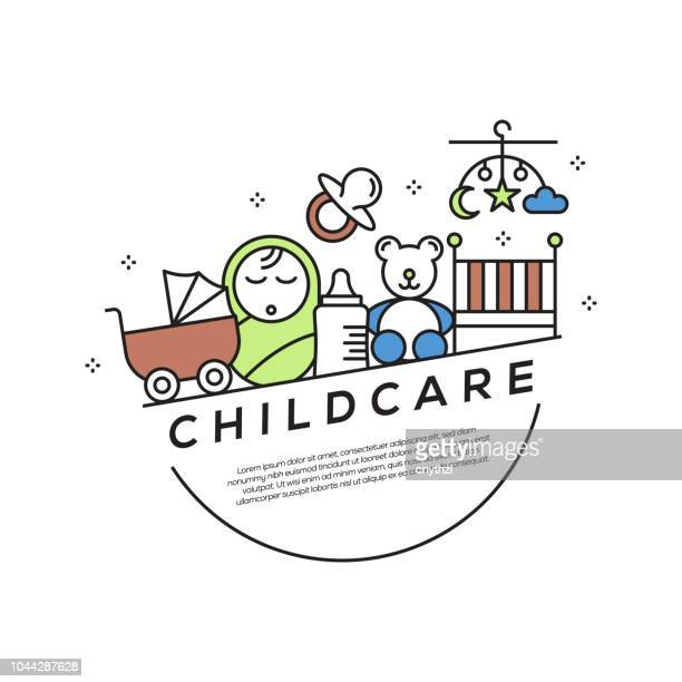 childcare concept flat line icons - child care stock illustrations