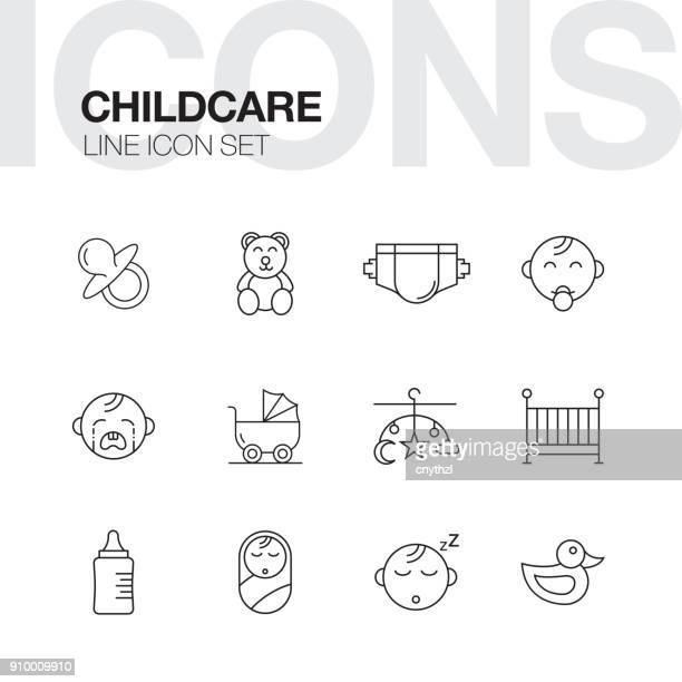 childcare line icons set - child care stock illustrations