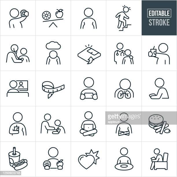 ilustraciones, imágenes clip art, dibujos animados e iconos de stock de iconos de línea delgada de obesidad infantil y adolescencia - trazo editable - obesidad infantil