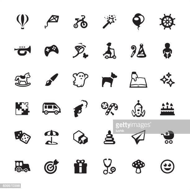 Kindheit und Spielzeug - Icons set